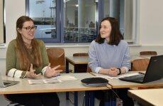Workshop Selbstständigkeit -- Studierendensicht (v.l.n.r. Leonie Kuhn, Laura Sterba)